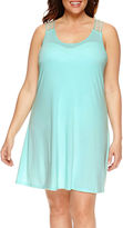 Porto Cruz a.n.a Solid Jersey Swimsuit Cover-Up Dress-Plus