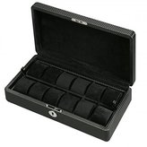 Allurez Men's 12 Watch Box Storage and Removable Tray in Patterned Black