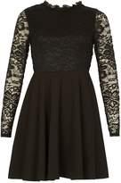 Izabel London Ruffle Neck Lace Dress