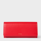 Paul Smith Women's Red Leather Tri-Fold Purse With 'Artist Stripe' Interior