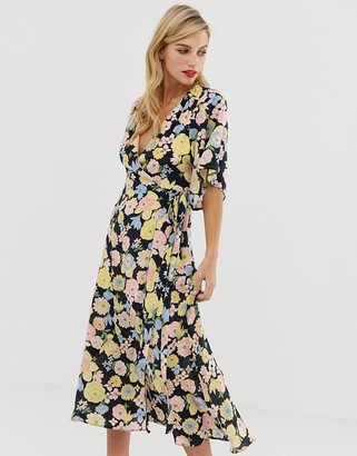 Liquorish wrap maxi dress with tie belt detail in retro floral print-Multi