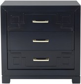 The Well Appointed House Navy Three Drawer Greek Key Night Stand