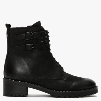 Daniel Sabarya Black Leather Studded Ankle Boots