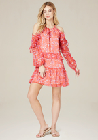 Bebe Print Ruffle Shoulder Dress