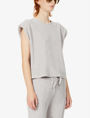 Prevu Delos padded shoulder cotton-blend towelling T-shirt