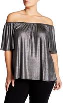 Hip Off-the-Shoulder Metallic Blouse (Plus SIze)