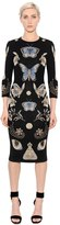 Alexander McQueen Butterfly Wool Blend Jacquard Knit Dress