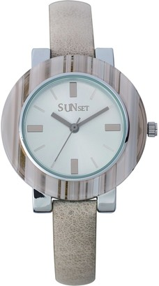 Sunset2747Ladies WatchSilver Dial Beige Leather Strap