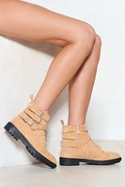 Womens Strap to Attention Faux Suede Boot - beige - 3