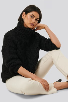 NA-KD Wool Blend High Neck Heavy Cable Knitted Sweater