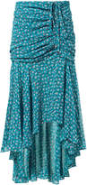 Veronica Beard Sevilla Ruched Ruffle Blue Midi Skirt