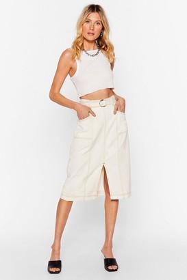 Nasty Gal Womens Wash Done is Done Denim Midi Skirt - Cream - 14