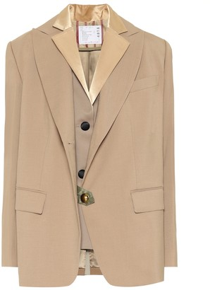 Sacai Layered wool-blend blazer
