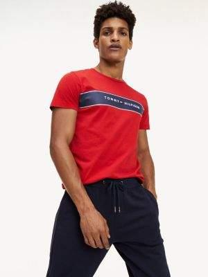 Tommy Hilfiger Logo Stripe Organic Cotton T-Shirt