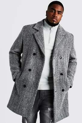 BoohoomanBoohooMAN Mens Black Big & Tall Double Breasted Wool Blend Overcoat, Black