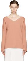 Stella McCartney Pink Ribbed V-neck Sweater