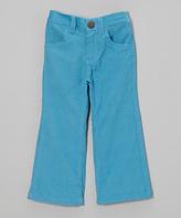 Mulberribush Turquoise Corduroy Flare Pants - Girls
