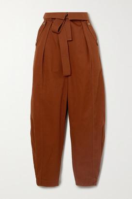 Ulla Johnson Rowen Belted Cotton-twill Tapered Pants - Orange