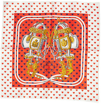 One Kings Lane Vintage Hermes Orange Brides de Gala Love Scarf - Vintage Lux - White/orange/blue