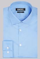 DKNY Slim Fit Blue Single Cuff Sateen Shirt