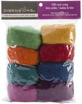 Dimensions Crafts 72-74002 Rainbow Wool Roving for Needle Felting, 8-Pack