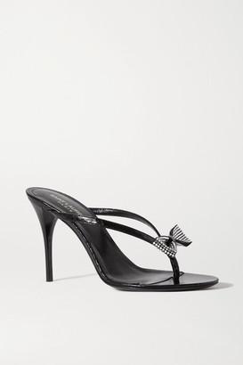 Saint Laurent Lexi Crystal-embellished Croc-effect Leather Sandals - Black