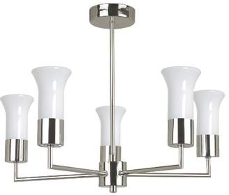 TP24 Andora 5 Arm Pendant Light Fitting in Chrome Finish with White Trumpet Glass