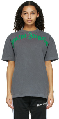 Palm Angels Black and Green Vintage T-Shirt