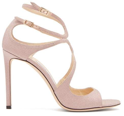 Jimmy Choo Lang 100 Glitter Covered Leather Sandals - Womens - Pink