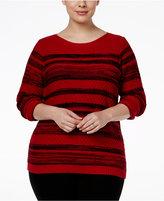 Karen Scott Plus Size Mixed-Stripe Sweater, Only at Macy's