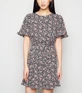 New Look Floral Frill Sleeve Mini Dress