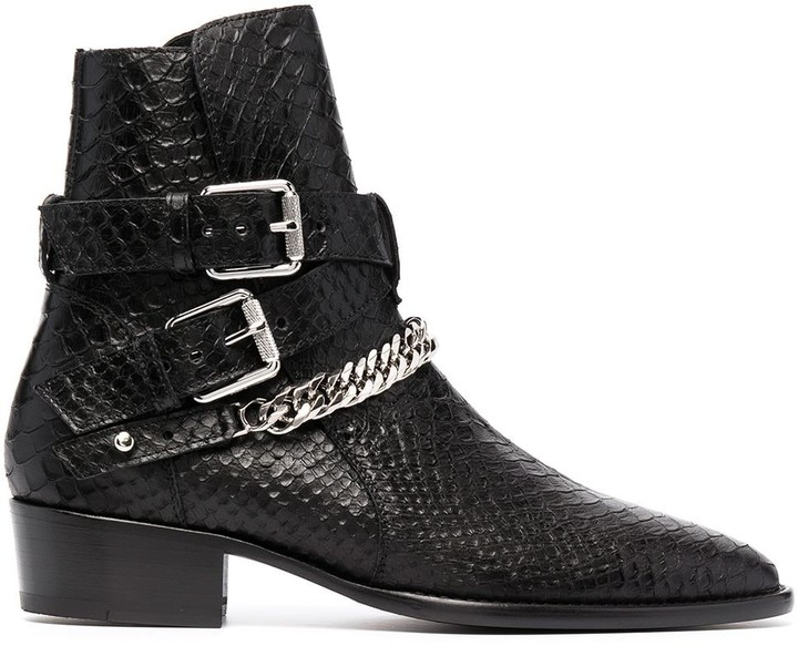 Amiri Snakeskin-Effect Leather Boots