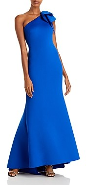 Eliza J Ruffled One Shoulder Gown