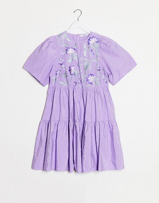 And other stories & tiered and embroidered mini dress in lilac