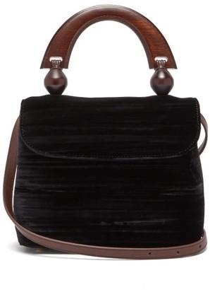 BY FAR Fiona Mini Bead-embellished Velvet Bag - Womens - Black