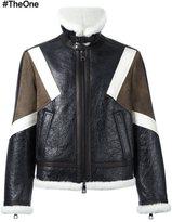 Neil Barrett colour block shearling jacket