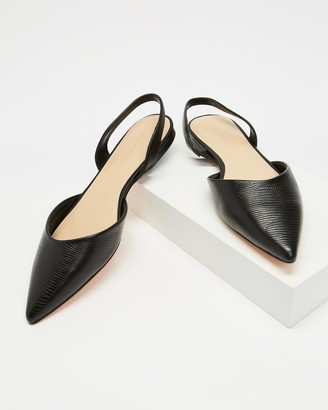 Atmos & Here Atmos&Here - Women's Black Flats - Kiss Leather Slingback Flats - Size 5 at The Iconic