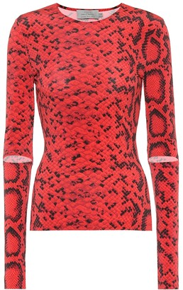 Preen by Thornton Bregazzi Bow snake-print stretch-jersey top
