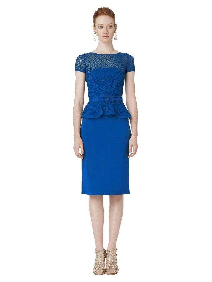 Oscar de la Renta Short Sleeve Peplum Hem Pencil Dress