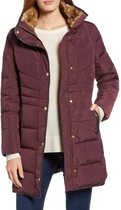 Cole Haan Faux Fur Trim Hooded Quilted Down Jacket