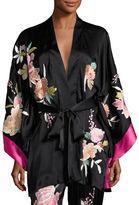 Josie Natori Lola Floral-Embroidered Wrap Robe