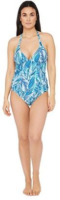 La Blanca Sketched Leaves Reversible Halter Goddess Tankini Top (Poolside) Women's Swimwear