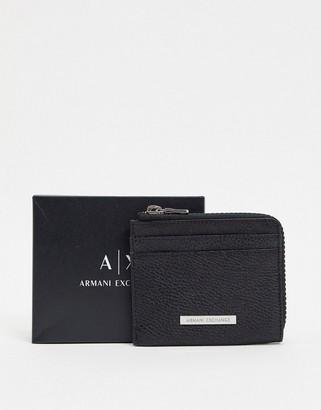 Armani Exchange logo leather zip around wallet in black