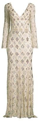 Mac Duggal Lattice Sequin Long-Sleeve Gown