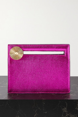 BIENEN-DAVIS Max Metallic Leather Clutch - Fuchsia