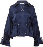Jonathan Simkhai Ruched Satin Jacket - Midnight blue