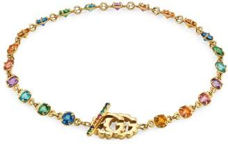 Gucci Double G bracelet with multicolour stones