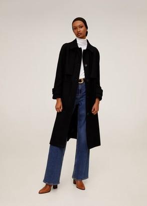 MANGO Long recycled wool coat navy - S - Women