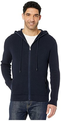 Calvin Klein Textured Hoodie Full Zipper - 12GG (Night Sky) Men's Sweater
