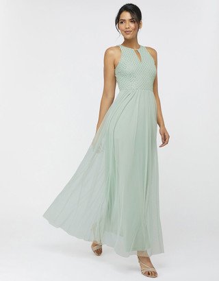 Under Armour Sophie Embellished Tulle Maxi Dress Green